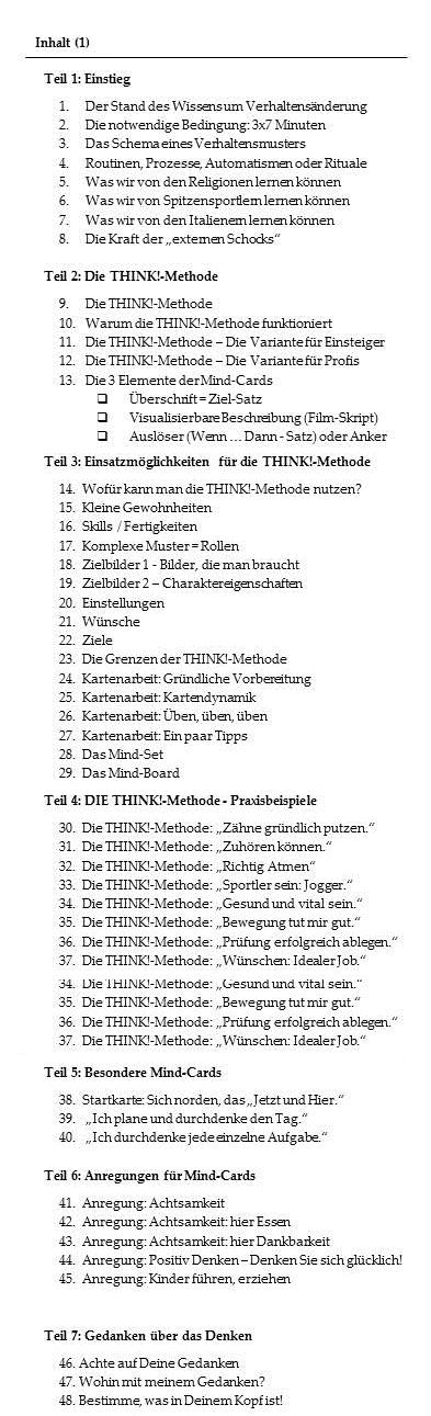 """Inhalt des Buches des Buches """"Die THINK!-Methode"""""""